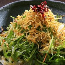 Daikon radish and mizuna salad