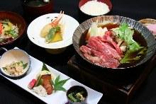 Wagyu beef sukiyaki set meal