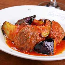 Simmered in tomato sauce