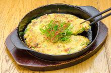 Mochi and cheese green onion pancake