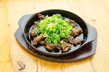 Beef tendon teppanyaki