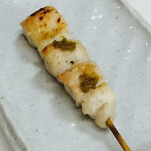 Chicken tenderloin skewer with wasabi