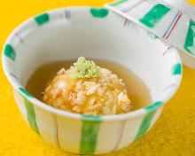 Deep-fried rice cake in broth