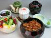 Eel rice bowl set. Served three ways.