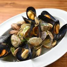 Manila clams and mussels steamed in wine