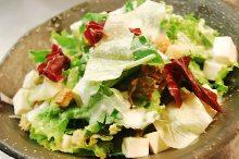 Caesar salad with tofu and avocado