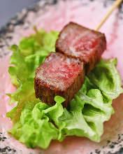 Grilled beef skewer
