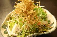 Daikon and burdock salad with hojicha dressing
