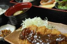 Pork loin cutlet meal set