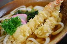 Wheat noodles with shrimp tempura