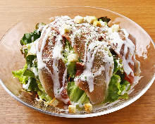 Caesar salad with prosciutte and Yamatomana