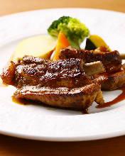 Pork spare ribs with teriyaki sauce