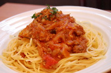Bolognese with red miso eggplant sauce