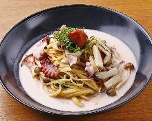 Octopus and mushroom pasta with pickled plum cream sauce