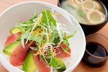 Tuna and avocado rice bowl