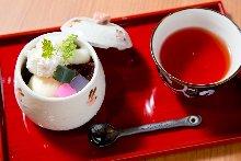 Shiratama cream anmitsu (rice dumplings with cream and red bean syrup)
