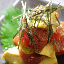 Tuna and avocado with wasabi soy sauce