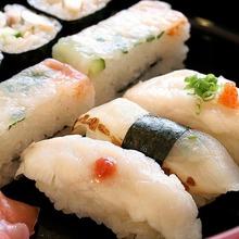 Assorted pufferfish nigiri sushi