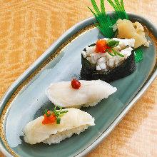 Fugu (puffer fish) nigiri sushi