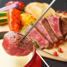 Meat cheese fondue