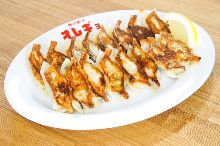 Grilled gyoza filled with perilla