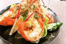 Live spiny lobster sashimi