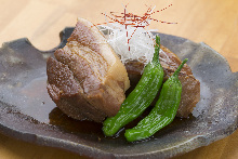Simmered pork belly with soft simmered egg