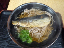 Buckwheat noodles with cooked herring