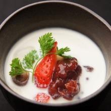 Shiratama (rice flour dumplings) in coconut milk