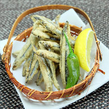 Fried silver-stripe round herring