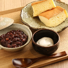 Dorayaki (two pancakes with red bean paste in between)