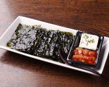 Chanja (spicy Korean marinated cod innards) and Korean seaweed (nori) with cream cheese