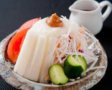 Japanese yam salad with plum meat dressing