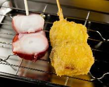 Fried octopus skewer