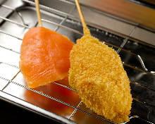 Fried salmon skewers