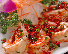 Stir-fried spicy shrimp and Japanese pepper