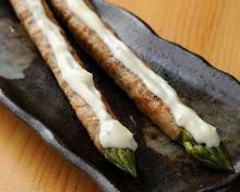 Pork wrapped asparagus skewer