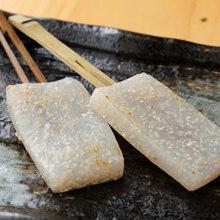 Shishamo smelt roe in konjac teppanyaki