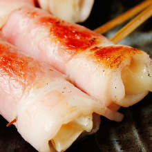 Bacon wrapped camembert cheese skewer