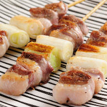 Duck and green onion skewer