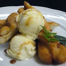 Fried soy milk bread with ice cream