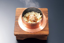 Tofu skin pot rice with dried baby sardines and Japanese pepper