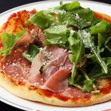 Raw ham pizza