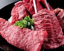 Grilled skirt steak skewer
