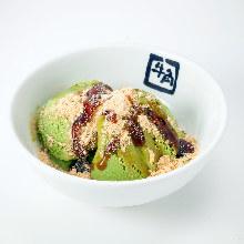 Matcha ice cream with brown sugar syrup