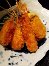 Assorted fried cutlet skewers