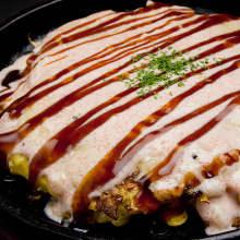 Marinated roe okonomiyaki