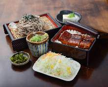 Eel bowl and soba with dipping sauce set meal