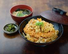 Breaded pork on rice and udon with deep-fried tofu or soba set meal