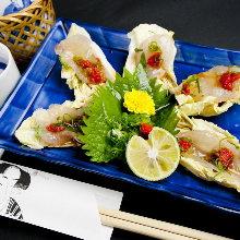 Assorted cuts of pufferfish sashimi
